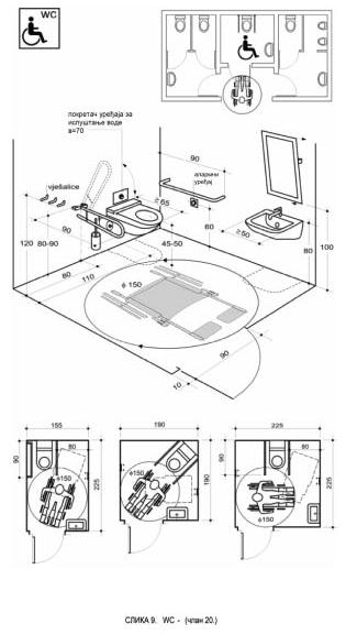 wc toalet invalidi dimenzije