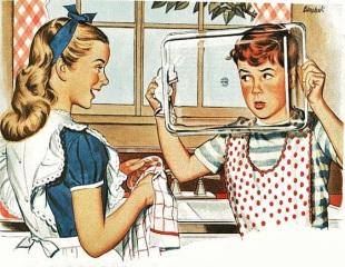 Dečak i devojčica peru sudove
