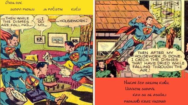 supermen kućni poslovi i sušenje sudova