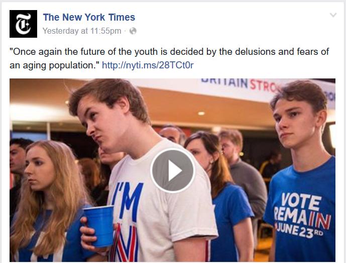 """Ton ejdžizma iz Evrope prelio se i u SAD: Njujork Tajms sa nečuvenim komentarom u vezi sa referendumom u Britaniji (""""Još jednom je budućnost mladosti odlučena zabludana i strahovima starijih stanovnika"""")"""