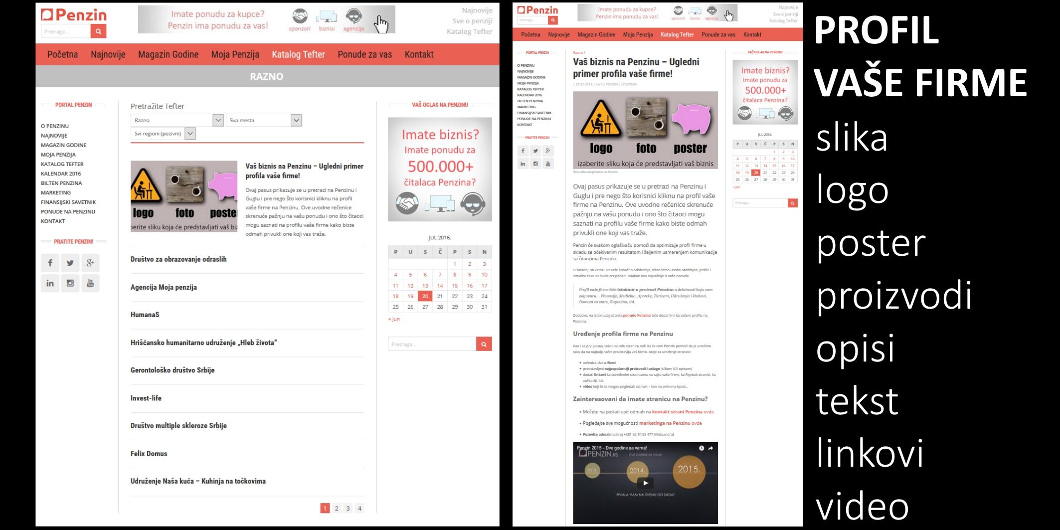 Levo: Profil firme istaknut u pretrazi kategorije pozicijom, slikom i uvodnim tekstom; Desno: ugledni primer sadržaja profila firme