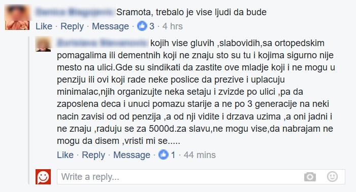 Komentari sa Fejzbuk stranice Penzina na vest o protestu penzinera