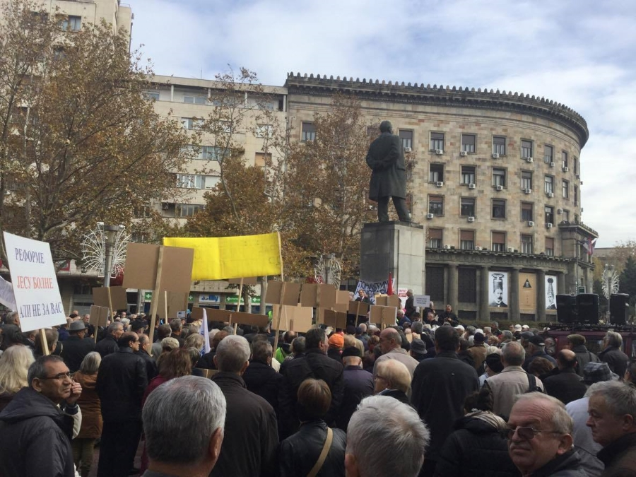 Protest penzionera 1. novembra 2016. godine u Beogradu u organizaciji USPS i USPVLS