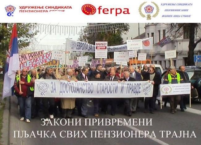 Protest – Za poništenje nemoralnih zakona o smanjenju penzija