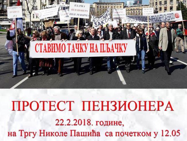 """Poziv na protest """"Stavimo tačku na pljačku penzionera"""""""