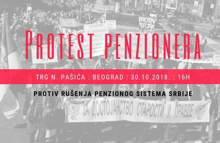 Penzioneri Srbije 30. oktobra organizuju protest u Beogradu i drugim gradovima